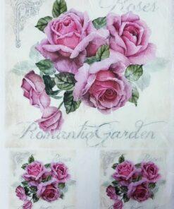 Hârtie de orez - Pink Roses - A4