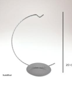Suport metalic decorativ argintiu – glob – 20 cm