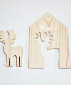 Formă decorativă - lemn - ren - 13x19 cm