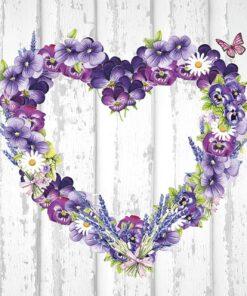 Șervețel Decoupage - Purple Heart - 33x33 cm