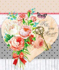 Șervețel - Key to my Heart - 33x33 cm