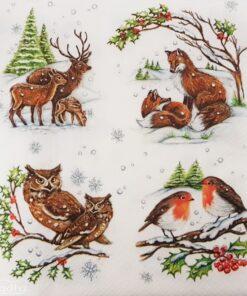 Șervețel - Winter Animals - 33x33 cm
