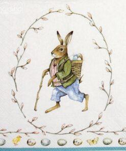 Șervețel - Edward Rabbit White - 33x33 cm
