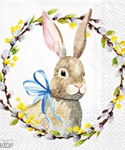 Șervețel - Rabbit With Catkins - 33x33 cm
