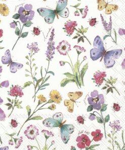 Șervețel - Summer Flowers White - 25x25 cm