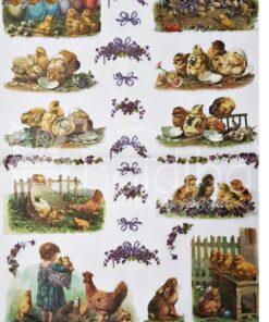 Hârtie de orez - DECOMANIA - Motive colorate - 35x50 cm