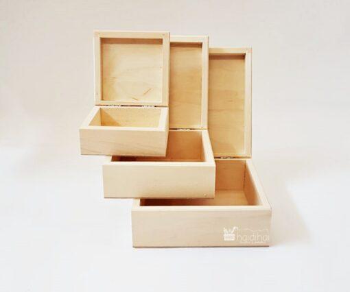 Set 3 cutii lemn natur – blank - 3 în 1