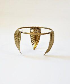 Suport metalic auriu - model frunză - diametru 9,5 cm