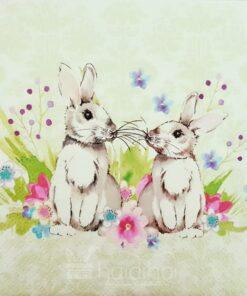 ervețel Decoupage - Bunnies in Love - 33x33 cm