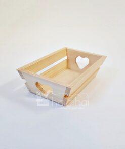 Tavă din lemn – mâner inimă – 18,8×12 cm