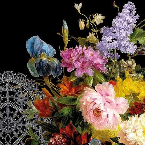 Șervețel – Still Life Bouquet Black – 33×33 cm 1
