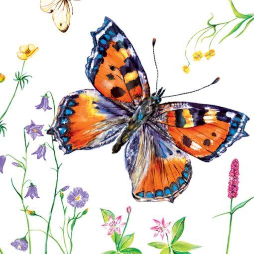 Servețel decoupage – Small Tortoiseshell Butterfly – 33×33 cm 1