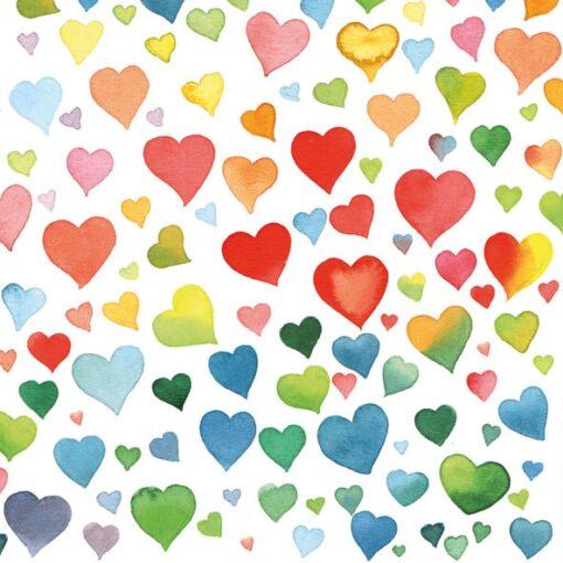 Șervețel decoupage - Colourful Hearts Mix - 33x33 cm 1