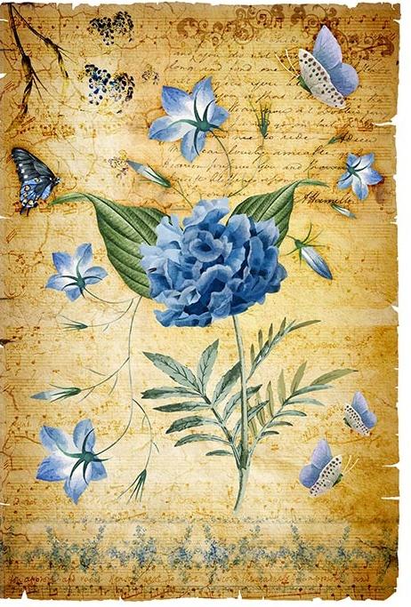 Hârtie de orez –Blue Flowers – A4 1