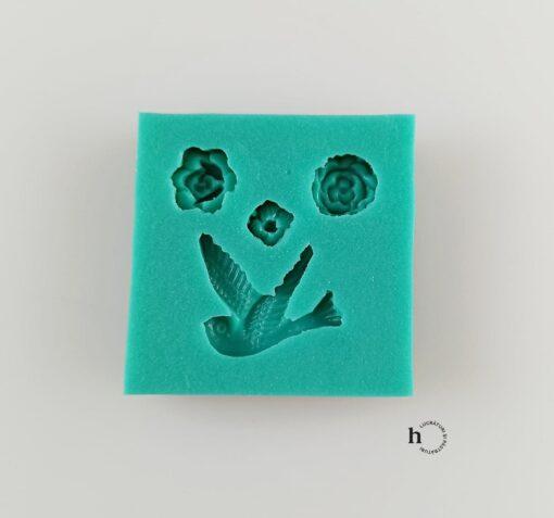 Matriță silicon - Bird and Three Flowers - 4,5X4,5 cm 1