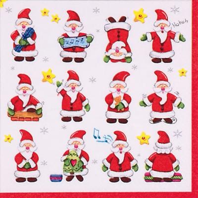 Șervețel  - Funny Santas - 33x33 cm 1
