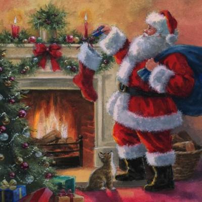 Șervețel - Santa placing Presents - 33x33 cm 1