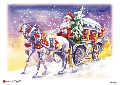 Hârtie de orez –Santa's Trip – A4 1