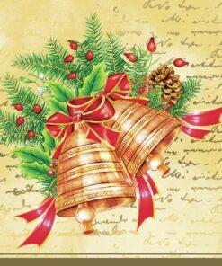 Șervețel - Christmas bells - cream - 33x33 cm