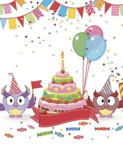 Șervețel - Funny Owls with B-day Cake - 33x33 cm