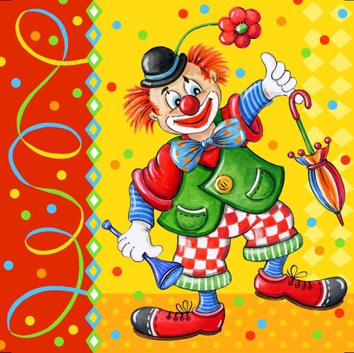 Șervețel decoupage - Clown - 33x33 cm 1