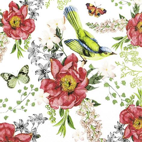 Șervețel - Bird and Roses - 33x33 cm 1