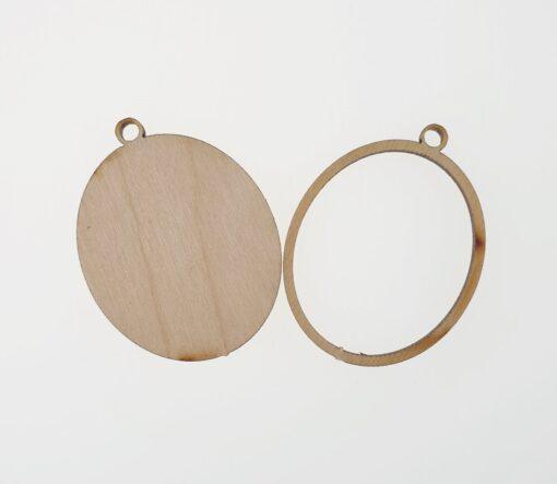 Baza martisor oval - lemn - 2 in 1- 4 cm 2