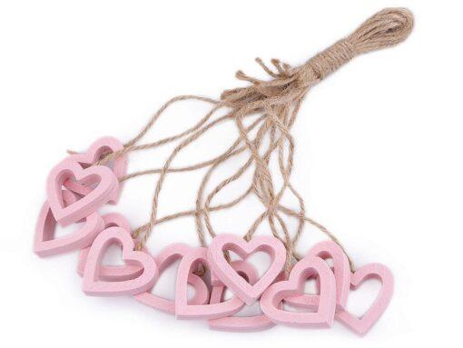 Decorațiuni din lemn - inimioare roz 1