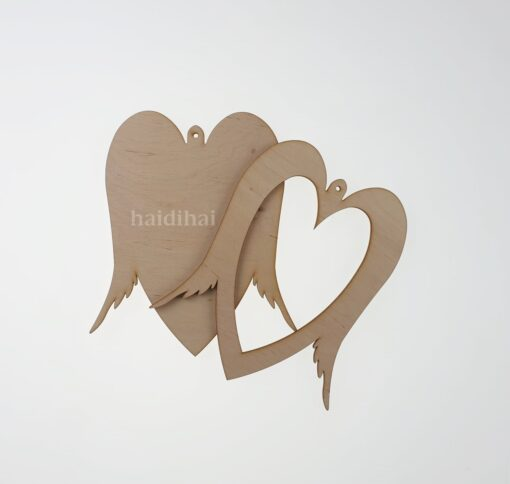 Decorațiune - inimă cu aripi - 2 elemente - 19.5x16.5 cm 2