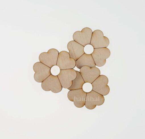Decorațiune lemn - floare - 4,5 cm 2