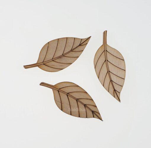 Decorațiune lemn - frunză - 6 cm 2