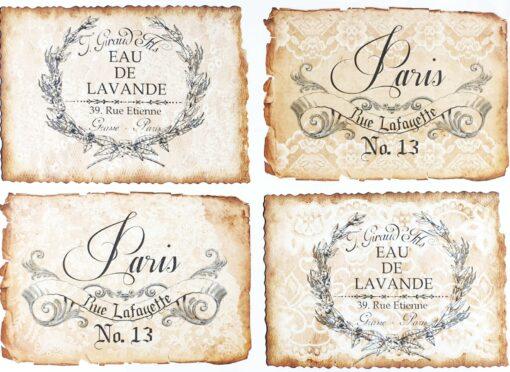 Hârtie decoupage - Vintage label 6 - A3 1