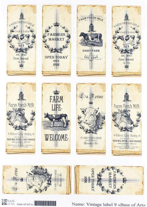 Hârtie decoupage - Vintage Label 9 - A4 1