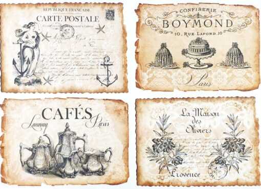 Hârtie decoupage - Vintage label 5 - A4 1