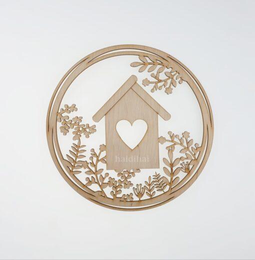 Decorațiune lemn - coroniță - bird house - 22 cm 1
