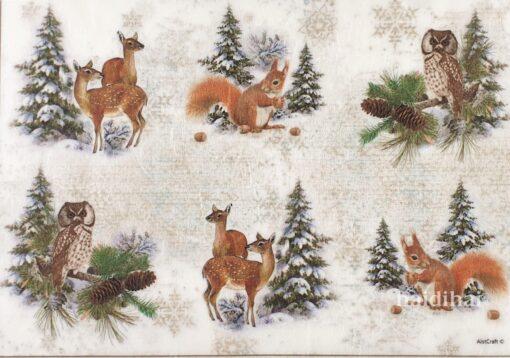 Hârtie de orez - Wood Animals - A4 1