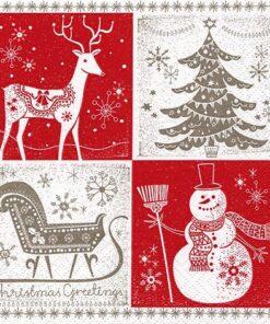Șervețel - Christmas Greetings red taupe - 33x33 cm